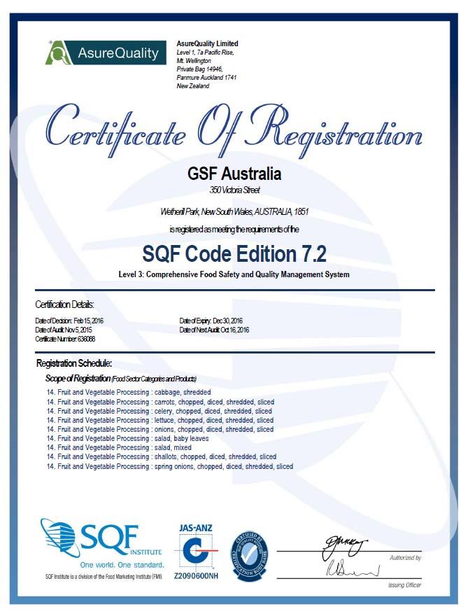GSF Fresh Australia | Comprehensive Food Safety Certificate