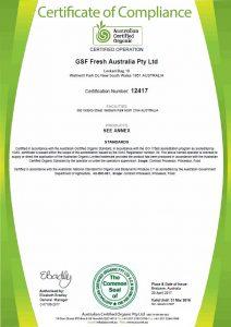 ACO Certified Organic Certificate